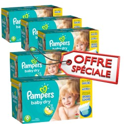 Pack jumeaux 684 Couches Pampers Baby Dry taille 6 sur Couches Zone