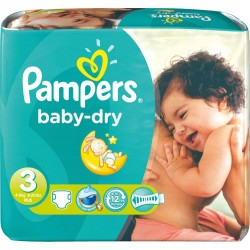 630 Couches Pampers Baby Dry taille 3