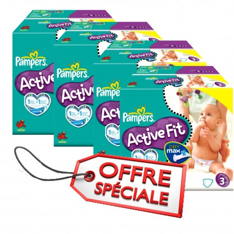 Maxi mega pack 476 Couches Pampers Active Fit taille 3 sur Couches Zone