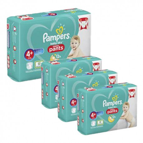 Pack jumeaux 595 Couches Pampers Baby Dry Pants taille 4+ sur Couches Zone
