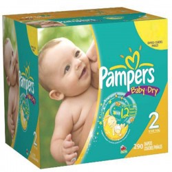 Mega pack 165 Couches Pampers Baby Dry taille 2 sur Couches Zone