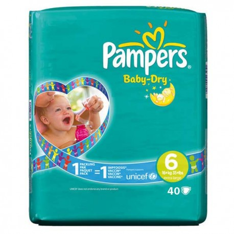 Pack 52 Couches Pampers Baby Dry taille 6 sur Couches Zone
