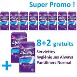 Pantiliners - Maxi Pack 300 Serviettes hygiéniques Always - 10 Packs de 30 Serviettes hygiéniques taille Normal