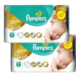 Pack jumeaux 572 Couches Pampers New Baby Premium Care taille 1 sur Couches Zone