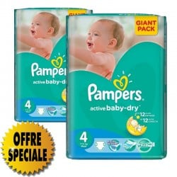 Pack 39 Couches Pampers Active Baby Dry taille 4 sur Couches Zone