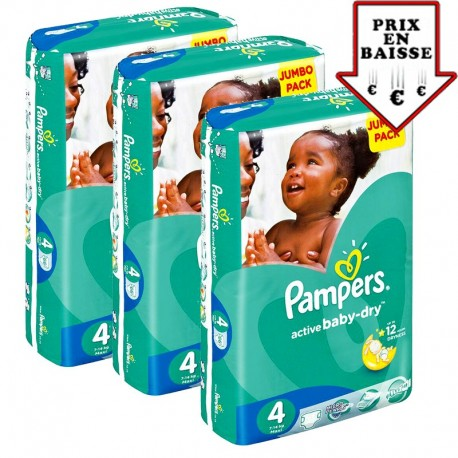 Pack 52 Couches Pampers Active Baby Dry taille 4 sur Couches Zone