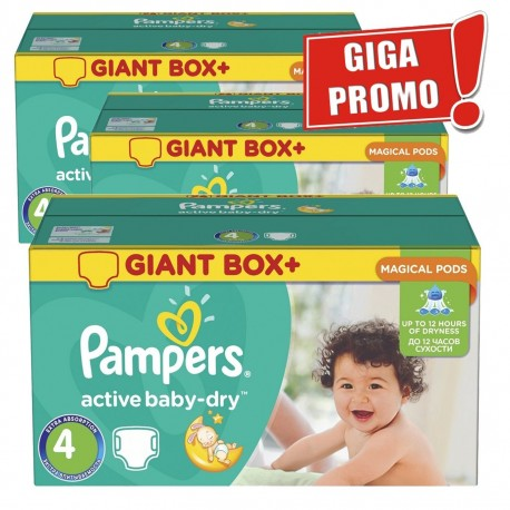 Pack 65 Couches Pampers Active Baby Dry taille 4 sur Couches Zone