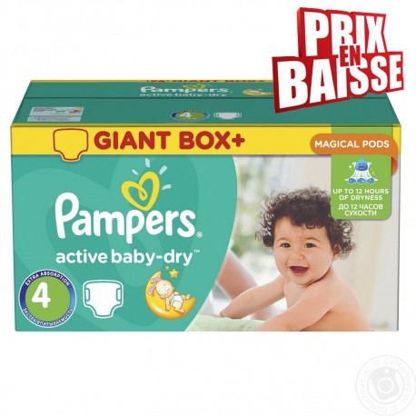 Mega pack 117 Couches Pampers Active Baby Dry taille 4 sur Couches Zone