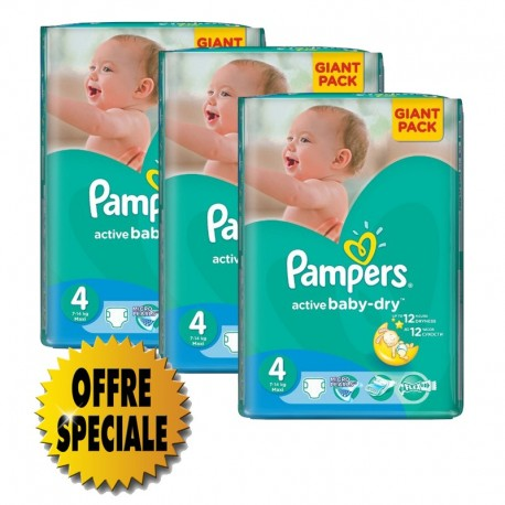 Mega pack 169 Couches Pampers Active Baby Dry taille 4 sur Couches Zone