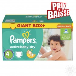 Giga pack 286 Couches Pampers Active Baby Dry taille 4 sur Couches Zone