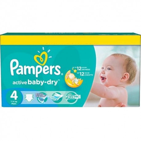 Maxi giga pack 312 Couches Pampers Active Baby Dry taille 4 sur Couches Zone