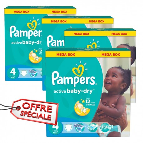 Maxi giga pack 390 Couches Pampers Active Baby Dry taille 4 sur Couches Zone