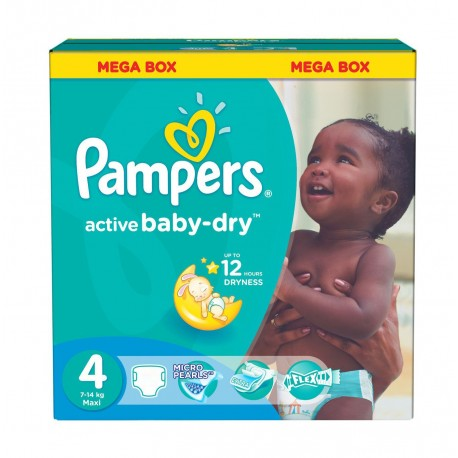 Maxi mega pack 416 Couches Pampers Active Baby Dry taille 4 sur Couches Zone