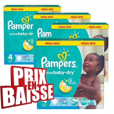Maxi mega pack 494 Couches Pampers Active Baby Dry taille 4 sur Couches Zone