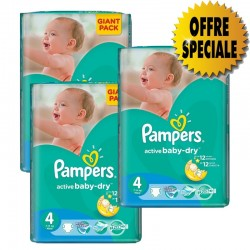 Pack jumeaux 546 Couches Pampers Active Baby Dry taille 4 sur Couches Zone