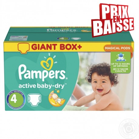 Pack jumeaux 611 Couches Pampers Active Baby Dry taille 4 sur Couches Zone