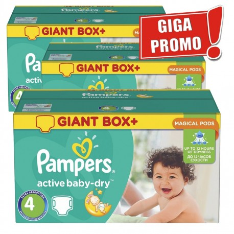 Pack jumeaux 650 Couches Pampers Active Baby Dry taille 4 sur Couches Zone