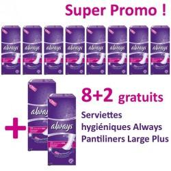 Pantiliners - Pack de 220 Serviettes hygiéniques d'Always - 10 Packs de 22 Serviettes hygiéniques taille LargePlus