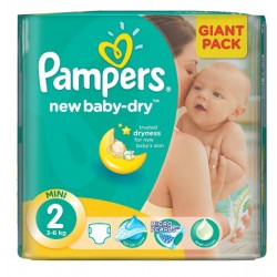 New Baby Dry - Maxi Pack de 58 Couches Pampers taille 2