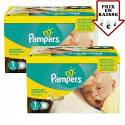 Pack jumeaux 504 Couches Pampers New Baby Premium Protection taille 1 sur Couches Zone