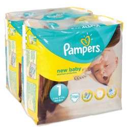 Pack jumeaux 720 Couches Pampers New Baby Premium Protection taille 1 sur Couches Zone