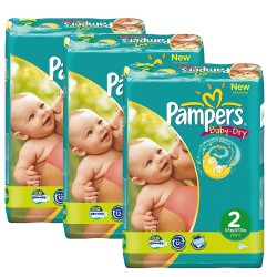 Pack jumeaux 825 Couches Pampers Baby Dry taille 2