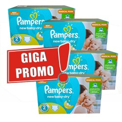 Maxi giga pack 330 Couches Pampers New Baby Dry taille 2 sur Couches Zone