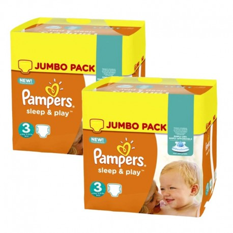 Pack jumeaux 820 Couches Pampers Sleep & Play taille 3 sur Couches Zone