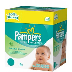 Natural Clean - Giga Pack 768 Lingettes Bébés de Pampers sur Couches Zone