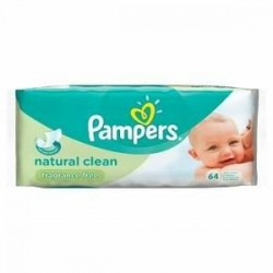 Natural Clean - Pack de 64 Lingettes Bébés de Pampers sur Couches Zone