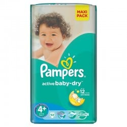 Active Baby Dry - Paquet de 53 Couches Pampers taille 4+