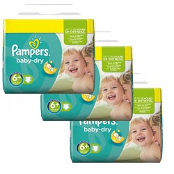 Baby Dry - Mega Pack 114 Couches Pampers taille 6+ sur Couches Zone