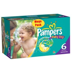 Baby Dry - Pack économique 152 Couches Pampers taille 6+ sur Couches Zone