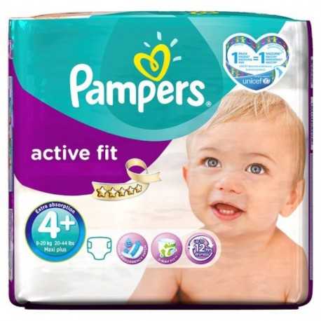 Active Fit - Pack 50 Couches de Pampers taille 4+ sur Couches Zone