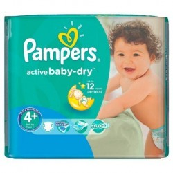 Pack 18 Couches Pampers Active Baby Dry taille 4+ sur Couches Zone