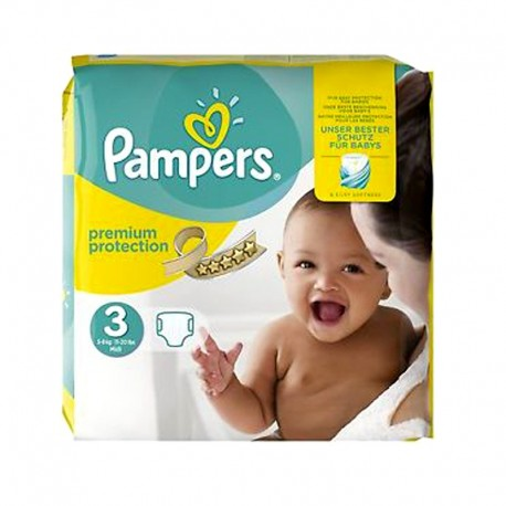 Pack 80 Couches Pampers Premium Protection - New Baby taille 3 sur Couches Zone