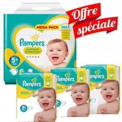 Pack Jumeaux 416 Couches Pampers Premium Protection - New Baby taille 5+ sur Couches Zone