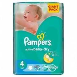 Pack 90 Couches Pampers Active Baby Dry taille 4 sur Couches Zone