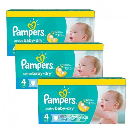 Mega Pack 360 Couches Pampers Active Baby Dry taille 4 sur Couches Zone