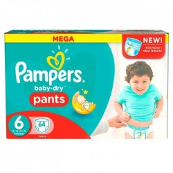 Pack 64 Couches Pampers Baby Dry Pants taille 6
