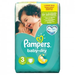 Pack 34 Couches Pampers Baby Dry taille 3 sur Couches Zone