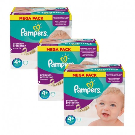 Maxi Giga Pack 186 Couches Pampers Active Fit taille 4+ sur Couches Zone