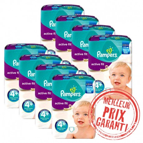 Pack Jumeaux 620 Couches Pampers Active Fit taille 4+ sur Couches Zone