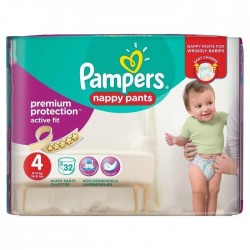 Pack 32 couches Pampers Active Fit Pants sur Couches Zone