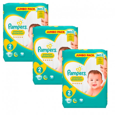 Maxi Pack 204 Couches Pampers New Baby - Premium Protection taille 2 sur Couches Zone