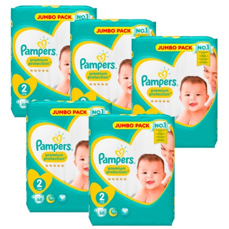 Maxi Giga Pack 340 Couches Pampers New Baby - Premium Protection taille 2 sur Couches Zone