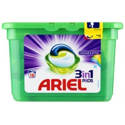 Ariel Pods 16 Colour & Style 3in1 (432 gr) sur Couches Zone