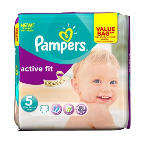 Pack 47 Couches Pampers Active Fit taille 5 sur Couches Zone