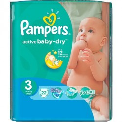 Pack 22 Couches Pampers Active Baby Dry taille 3 sur Couches Zone