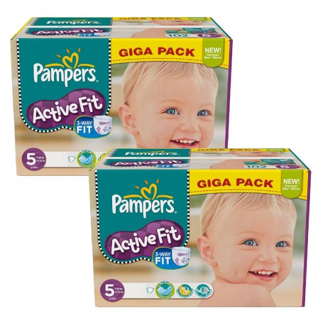 Maxi Giga Pack 235 couches Pampers Active Fit sur Couches Zone